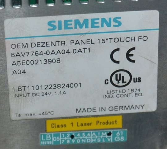 SIEMENS OEM DEZENTR. PANEL 15 TOUCH 6AV7764-0AA04-0AT1